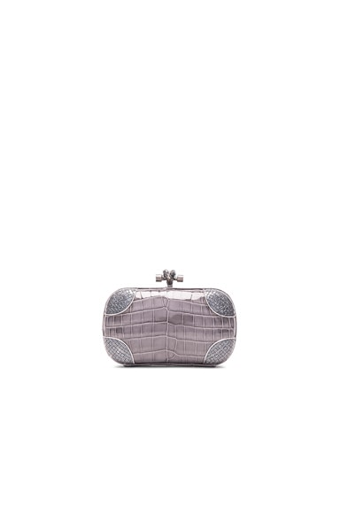 Bottega Veneta Fume Crocodile Knot Clutch in Light Grey
