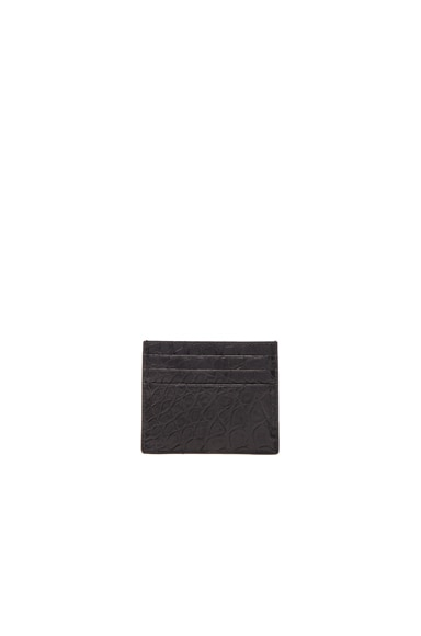 Bottega Veneta Soft Crocodile Cardholder in Black