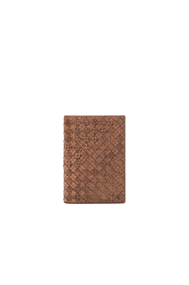 Bottega Veneta Woven Ayers Wallet in New Cigar
