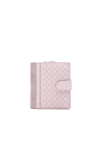Bottega Veneta Woven Leather & Ayers Wallet in Rose Buvard