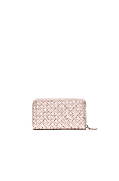 Bottega Veneta Woven Leather Wallet in Rose Gold