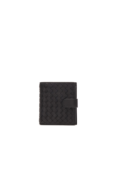Bottega Veneta Woven Foldover Wallet in Nero