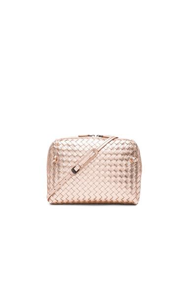 Bottega Veneta Woven Messenger Bag in Rose Gold