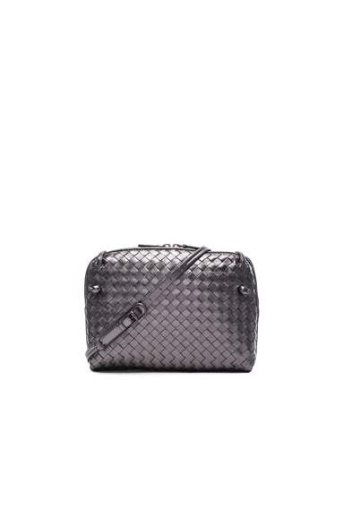 Bottega Veneta Woven Messenger Bag in Oxidized Silver