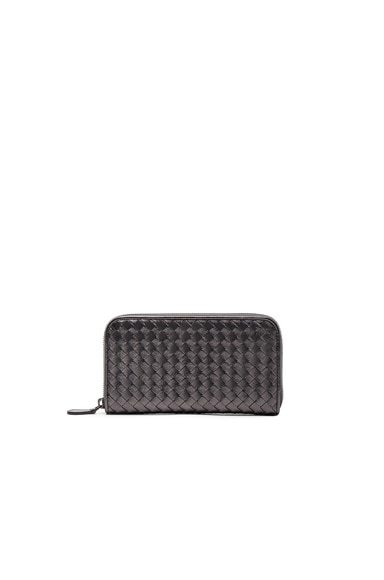 Bottega Veneta Woven Leather Wallet in Oxidized Silver