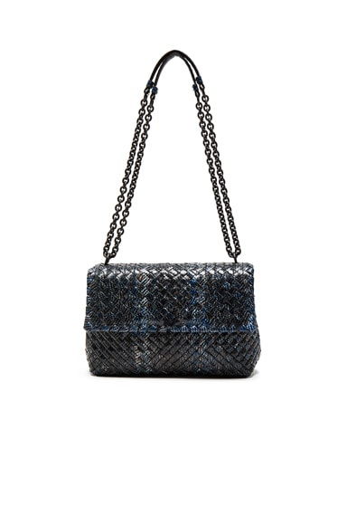 Bottega Veneta Ayers Tweed Foldover Bag in Blue