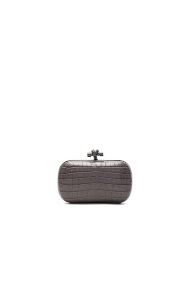 Bottega Veneta Soft Crocodile Fume Knot Clutch in New Light Grey
