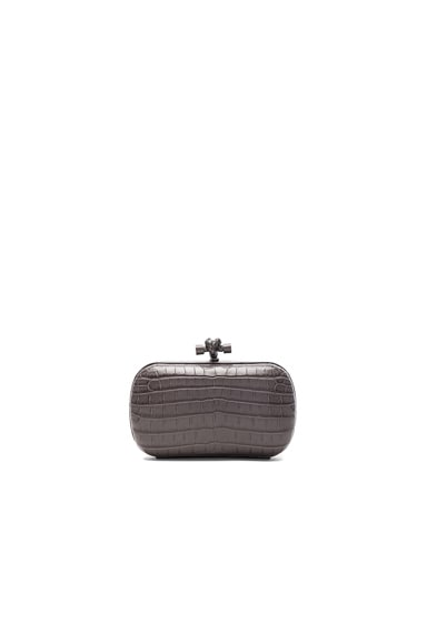 Soft Crocodile Fume Knot Clutch