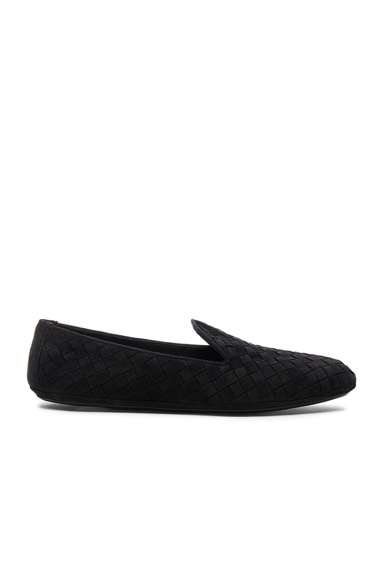 Bottega Veneta Woven Suede Flats in Black