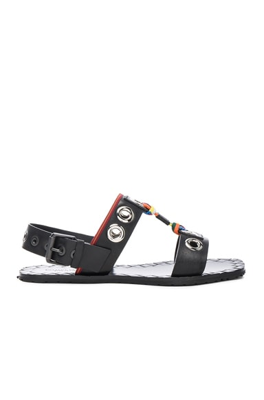 Bottega Veneta Grommet Sandals in Black & Multi