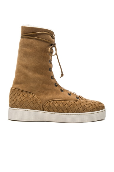 Bottega Veneta Suede Lace Up Boots in Camel