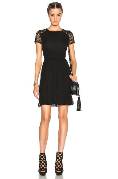 Burberry Prorsum Paneled Lace Dress in Black