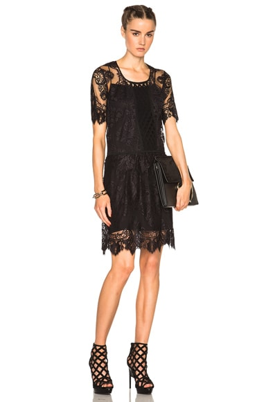 Burberry Prorsum Chantilly Lace Dress in Black