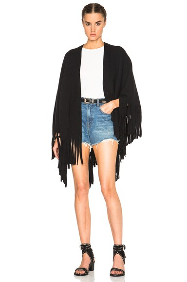 Burberry Prorsum Felted Knitted Poncho in Black