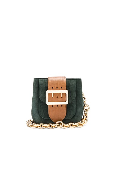 Burberry Prorsum Small Suede Belt Bag in Dark Forest Green