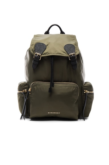 Burberry Prorsum Large Nylon Rucksack in Khaki Green