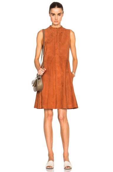 Brock Collection Suede Larissa Dress in Rust