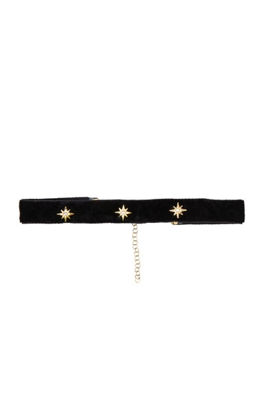 Bartoli Starburst Crushed Velvet Choker in Black