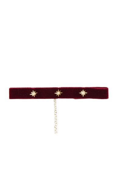 Bartoli Starburst Crushed Velvet Choker in Dark Red