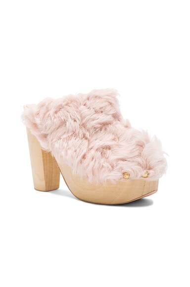 for FWRD Curly Rabbit Fur Clogs