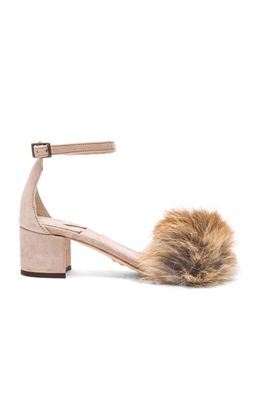Brother Vellies FWRD Exclusive Dhara Tufted Fox Fur Sandals in Nude