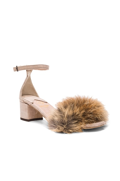 FWRD Exclusive Dhara Tufted Fox Fur Sandals