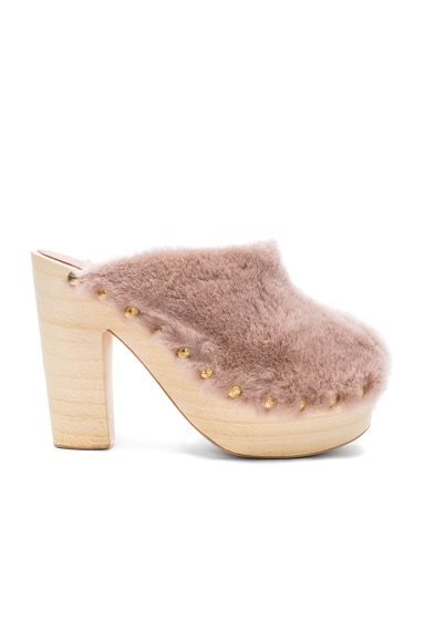 Brother Vellies Sheep Shearling Clog Heels in Protea