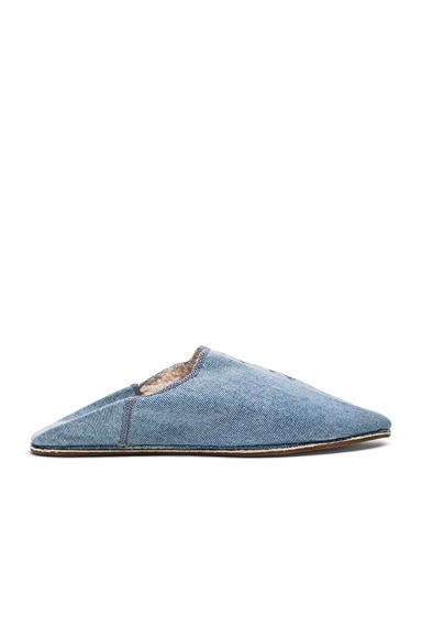 Brother Vellies Sherpa Babouche Slides in Denim