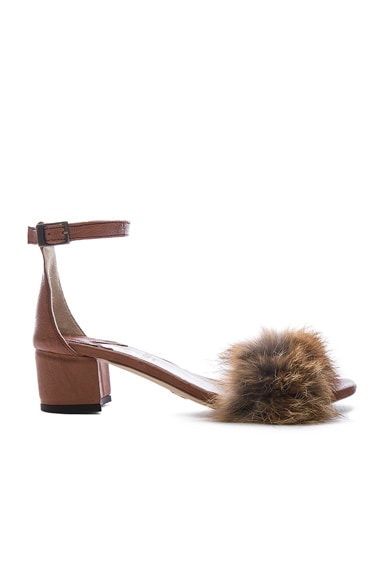 Dhara Tufted Fox Fur Sandals