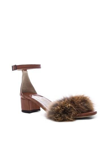 Dhara Tufted Fox Fur Sandals