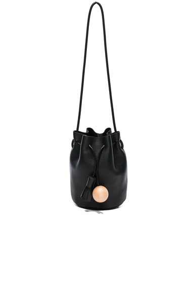 Building Block Mini Bucket Bag in Pebbled Black