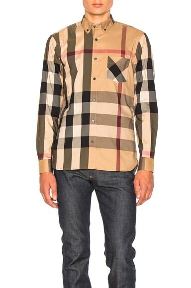 Herringbone Stretch Giant Check Shirt