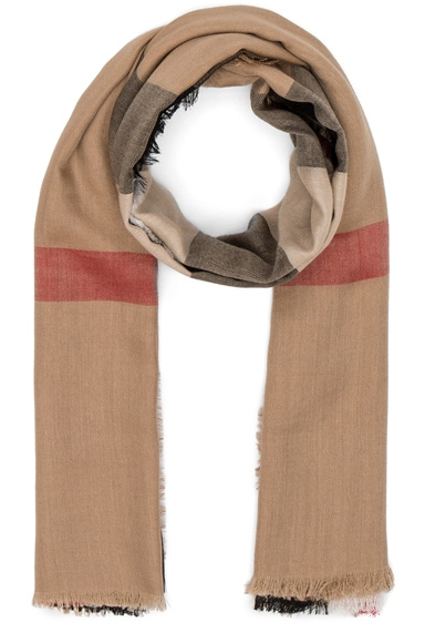 Burberry Lightweight London Check Travel Scarf in Camel