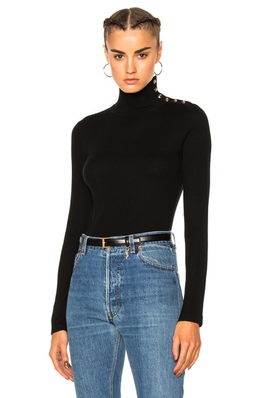 Burberry Button Turtleneck in Black