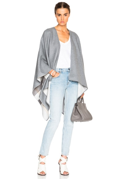 Burberry London Charlotte Solid to Check Wool Cape in Light Grey Check