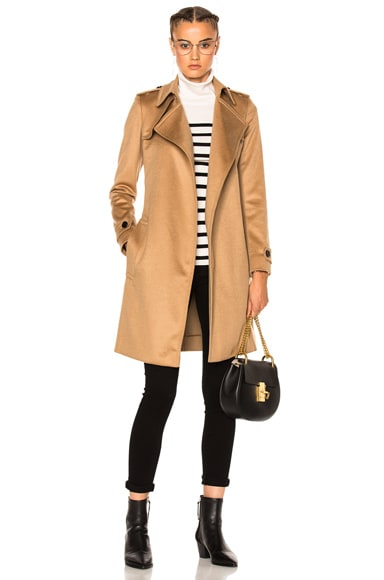 Burberry London Wrap Trench Coat in Camel