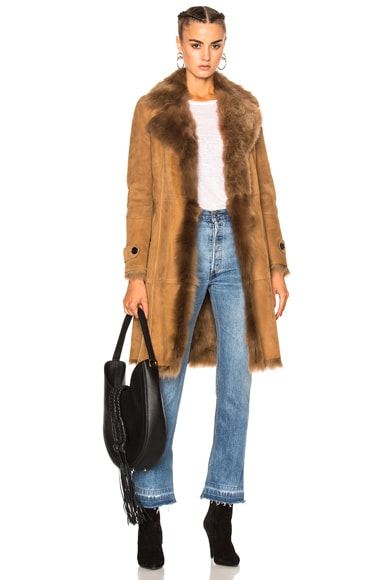 Burberry London Shearling Coat in Dark Camel