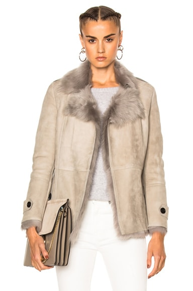 Burberry London Shearling Jacket in Pale Gray