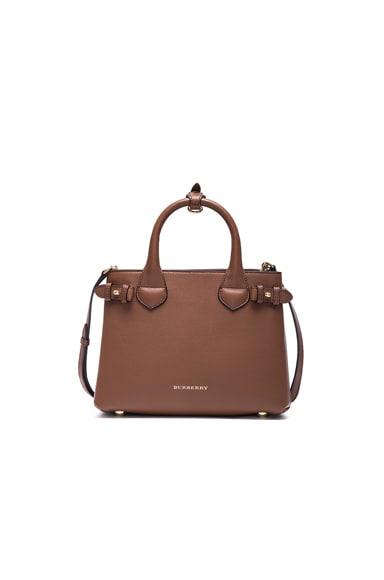 Burberry London Small Banner Check Leather Bag in Tan