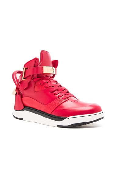 Buscemi B Court Leather Sneakers in Red