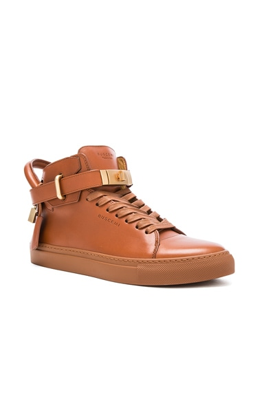 Buscemi 100MM Box Leather Sneakers in Whiskey