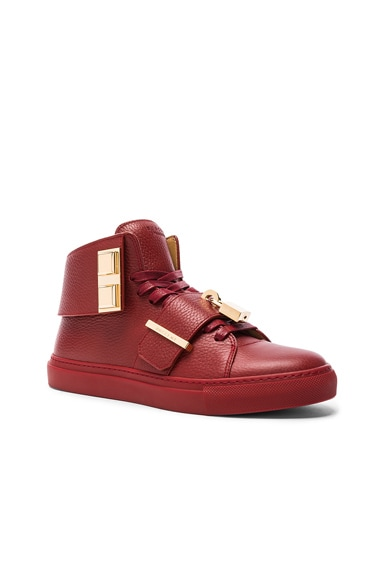 Buscemi Pebbled Leather Trap Sneakers in Scarlet Red