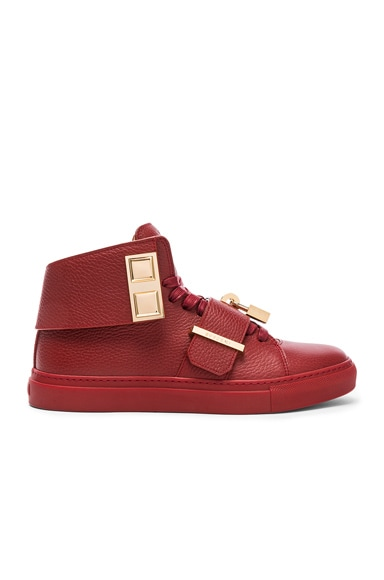 Pebbled Leather Trap Sneakers