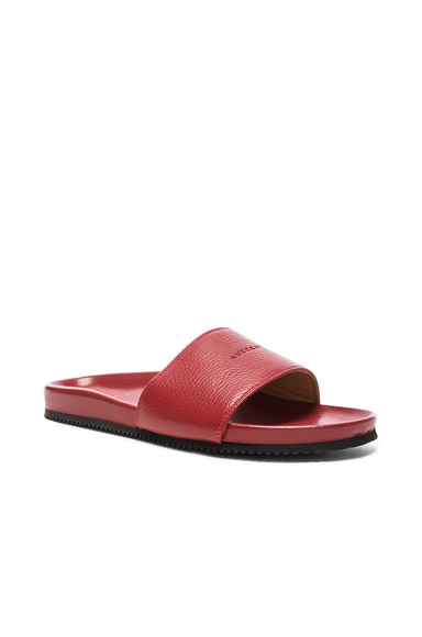 Buscemi Classic Leather Slide Sandals in Red