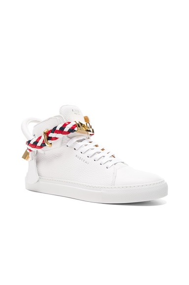 Buscemi 100MM High Top Belt Weave Pebbled Leather Sneakers in White