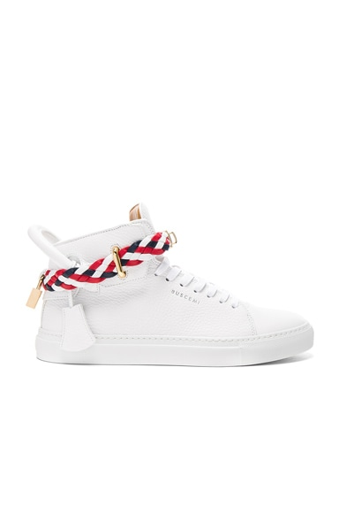 100MM High Top Belt Weave Pebbled Leather Sneakers
