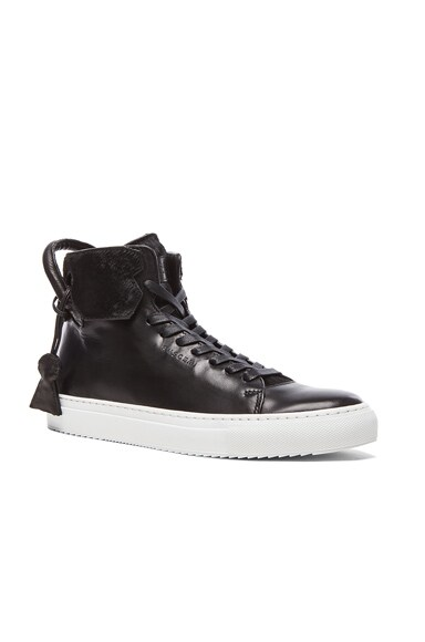 Buscemi 125MM Cavalino High Top Leather Sneakers in Black