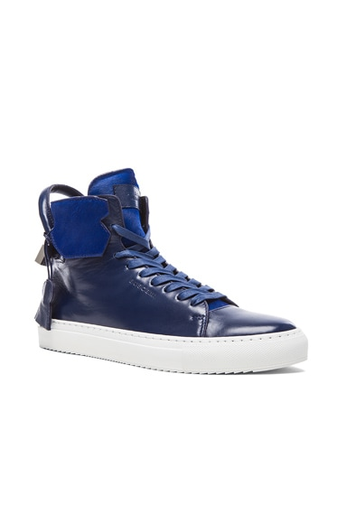 Buscemi 125MM Cavalino High Top Leather Sneakers in Blue