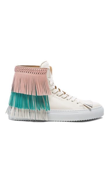 Buscemi 125MM Leather New Fringe Sneakers in Cream, Pink & Aqua Marine