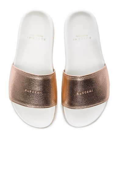 Buscemi Leather Slide Sandals in Rose Gold